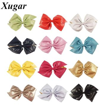 3 Pcs/lot 7'' Big Leather Hair Bows For Sweet Girls Solid Hairpins Pretty Girls Hair Clip Hair Accessories