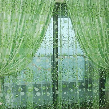 Factory Price Hot Sale Chic Room Floral Pattern Voile Window Sheer Voile Panel Drapes Curtains