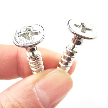 Fake Gauge Earrings: Realistic Screw Shaped Faux Plug Stud Earrings in Shiny Silver