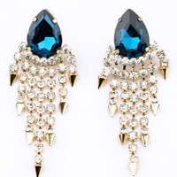 Sapphire Spike Stud Chandelier Earrings