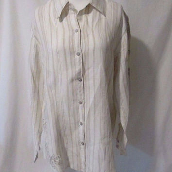 Chico's Linen Blouse Shirt Appliqued Embroidered Chico's Size 2 Striped