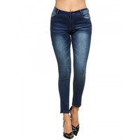 New Women Casual Low Waist Elastic Jeans Denim Pants With Pockets