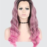 Pink Ombre Wave Long Synthetic Lace Front Wig