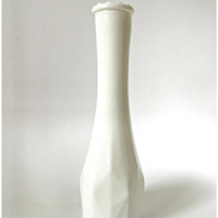 Vintage Geometric Faceted Milk Glass Tall and Slender Flower Vase