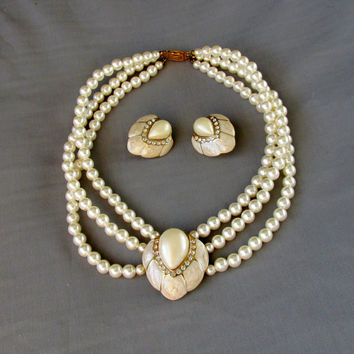 Vintage Pearl Necklace Earring Set Multi Strand White Pearl And Rhinestones Shell Pendant Center On Gold Tone Gift Collectible Item 2029