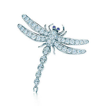 Tiffany & Co. - Dragonfly brooch in platinum with diamonds and sapphires, medium.