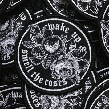 Smell the Roses - Patch denim jacket patch, leather jacket, woven patch, embroidered patch, punk patch, rose patch, iron on patch