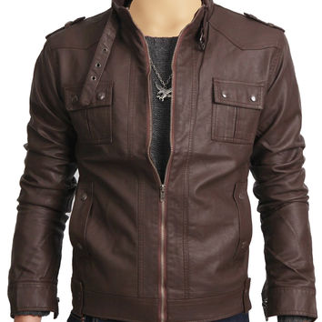 Brown leather jacket with collar belt