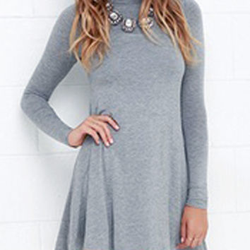 Gray High Neck Long Sleeve Skater Mini Dress