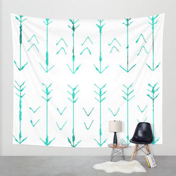 Teal Arrow - Hanging Tapestry - Wall Tapestry - Teal Arrow Art - Large Wall Photograph - Home Decor - Made to Order