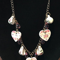 Saralise China Hearts and Rosebud Tea Cups Necklace