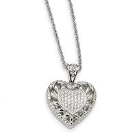 Sterling Silver CZ Heart Necklace QG4613