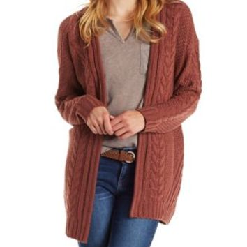 Burgundy Oversized Cable Knit Cardigan Sweater by Charlotte Russe