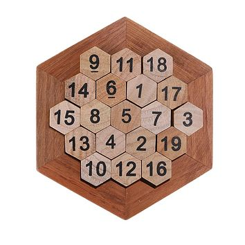 Funny Geometric Shape Number Puzzle Children Wooden Number Board Math Game Early Educational Learning Wood Toys Gift