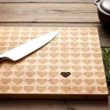 Personalized Carved Heart Engraved Wood Cutting Board - 12x16 - custom Mother's Day wedding or anniversary gift for foodie couple