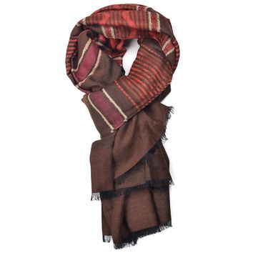 Etro Brown Multicolor Tribal Stitched Wool Blend Fringed Scarf