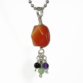 Summer SALE Natural Carnelian Agate Wire Wrapped Sterling Silver Tassel Pendant Necklace multi gemstone