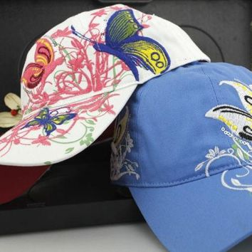 ONETOW New Women's Fashion Hat With Embroidery And Butterfly  Casual Street Hip Hop Baseball Caps (4 Color: White,Black,Pink,Blue)
