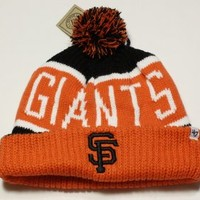 "San Francisco Giants Orange ""Calgary"" Beanie Hat with Pom - MLB SF Cuffed Winter Knit Toque Cap"