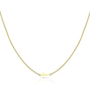 14K Solid Yellow/Rose Gold Cute Sideway Cross 14 15 16 Inches Choker Necklaces