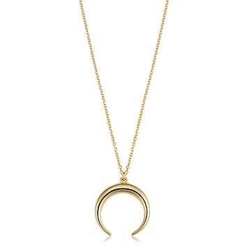 "14K Yellow Gold Crescent Moon Pendant On 18"" Necklace"