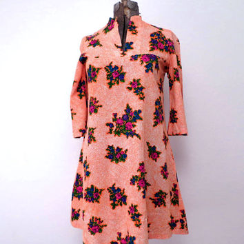 Vintage Neon Floral Dress by Two Potato of Laguna Beach California size M to L Flowered Dress