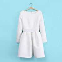 Round-neck Long Sleeve Shaped Slim Dress One Piece Dress [4917856708]