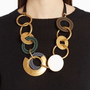 Marni Leather & Brass Link Statement Necklace | Nordstrom