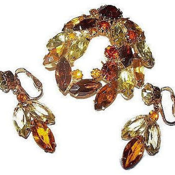 Juliana Brooch Earring Set Yellow & Amber Rhinestones Swag Floral Design Gold Metal Vintage