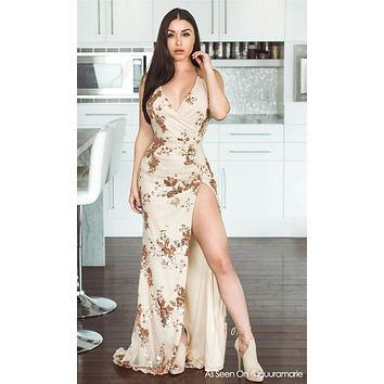 All Night Love Beige Sleeveless Spaghetti Strap Sequin Floral Pattern Ruched V Neck Backless Side Slit Maxi Dress - 2 Colors Available