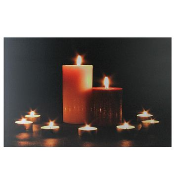 "LED Lighted Flickering Pillar and Tea Light Candles Canvas Wall Art 23.5"" x 15.5"""