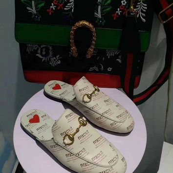 GUCCI Women Trending Fashion Embroidery printing Casual Shoes Sandal Slipper Heels
