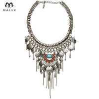Newest Graceful Tassel Necklace High Quality Handmade Crystal Inlaid Round Charm Exo Pendant Chunky Statement Necklace NK1236