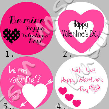 "Happy Valentine's Day Pink and White  Labels Mason Jars or Gift Tags  - 2"" or 2.5"" round labels"