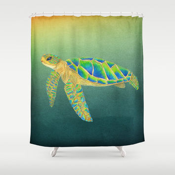 Sea Turtle Shower Curtain - Sydney Sea Turtle in a green Sea - Watercolor Ocean Surf beach, surfer, green, coastal decor, bathroom