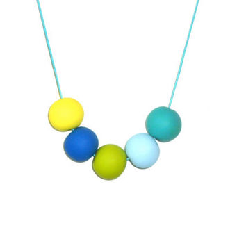Geometric Beads-Neon yellow, blue, lime green - modern necklace-spring collection-birthday gift under 30