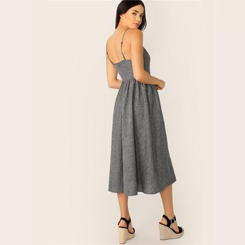 Grey Button Up Cami Sleeveless Dress Women Weekend Casual Long Dress High Waist Solid Fit and Flare Midi Dress