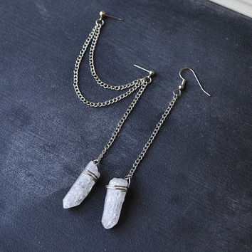Wire Wrapped Crystal Pendulum Double Chain Cartilage Earring (Pair)