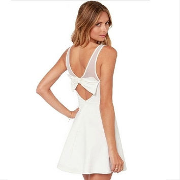 8487 chic ivory white mesh stretch fabric stitching back bow sleeveless dress = 1753267268