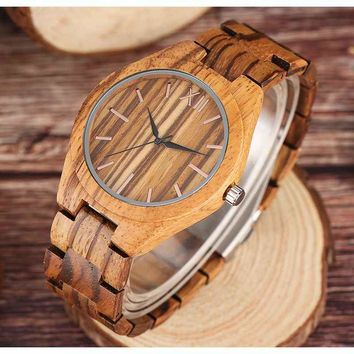 Minimalist Bamboo Wood Grain Quartz Wooden Watch