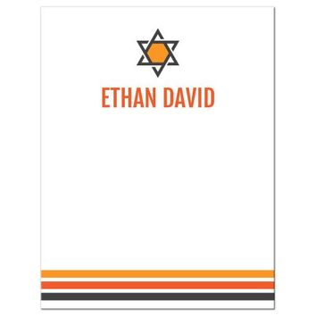 Bar mitzvah thank you card with three orange and dark gray stripes, Star of David and personalized name | Modern and minimal design