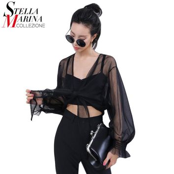 European Style 2017 Summer Women Sexy Sheer Mesh Tops Long Sleeve Black Green T Shirt Transparent Cape Style Short T-shirts 1616