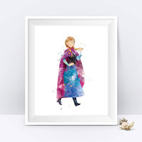 Princess Anna Watercolor Art Print Frozen Art Disney Wall Art Disney Princess Nursery Decor Gift Digital Download