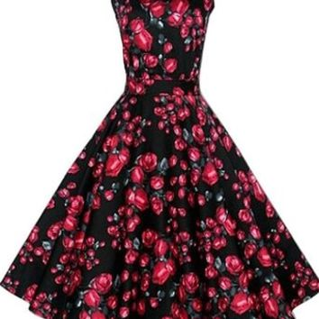 19bd5035aed ACEVOG Vintage 1950 s Floral Spring Garden Party Picnic Dress Party  Cocktail Dress