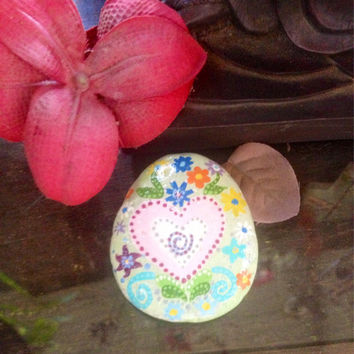Funky, Bohemian Heart Flower design, whimsical hand painted sea rock, OOAK gift