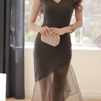 Sexy Slim package hip organza dress fashion transparent gauze dress fishtail