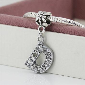 1Pc Alloy Bead Charm European letter of the alphabet Silver Plated Beads Fit Women pandora Bracelets & Bangles Necklace B8 A-R