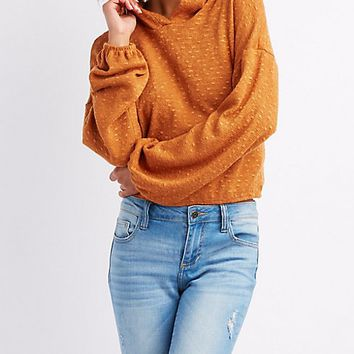 Hacci Cropped Pullover Hoodie | Charlotte Russe