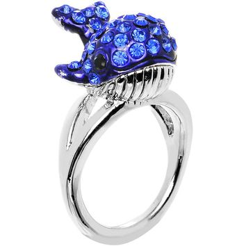 Size 7 Blue Gem Silver Tone Paved Splashing Whale Ring