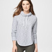 Long Sleeve Striped Cowl-Neck Top - Aeropostale